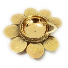 Lakshmi Kuber Deepam - 8 Coin - Brass