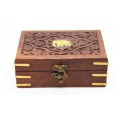 Box Carved With Elephant Inlaid 6*4 Inch