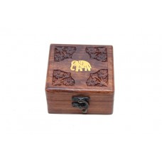 Box Carved With Elephant Inlaid