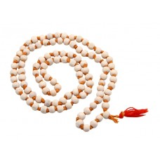 White Tulasi Mala With Wooden Beads - 8 MM - 108 Beads